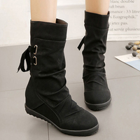 Women Winter Snow Boots Mid Calf Solid Wedges Ladies Height Increasing Shoes Casual Leather Boot Woman