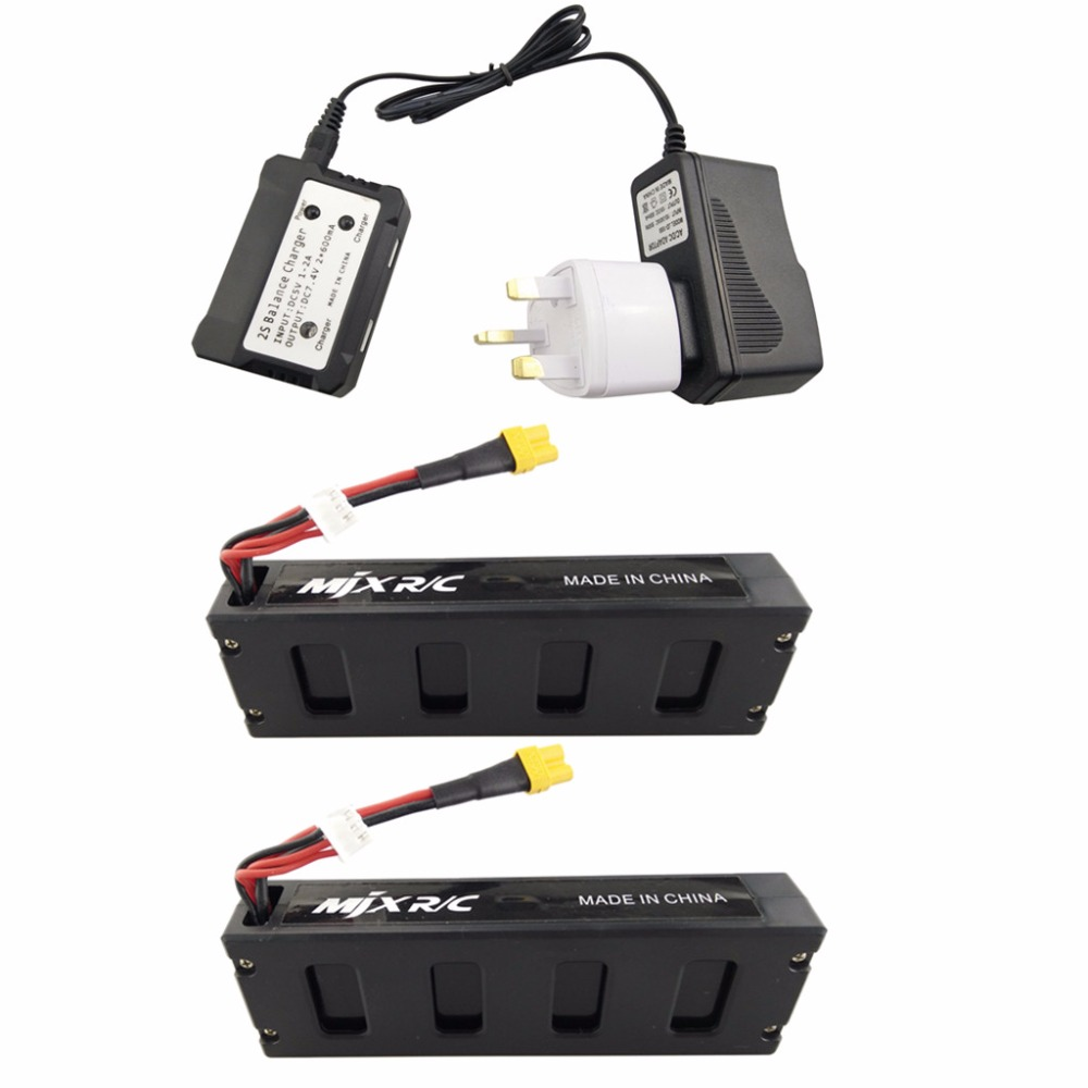 2PCS 7.4V 1800mAh Model Battery with British Charger for MJX B3 Bugs 3 B3H BUGS 3H F17 F100 Aircraft Spare Parts Lithium Battery 2pcs 7 4v 1800mah model battery with 2 in 1 euro charger for mjx b3 bugs 3 four axis aircraft spare parts uav lithium battery