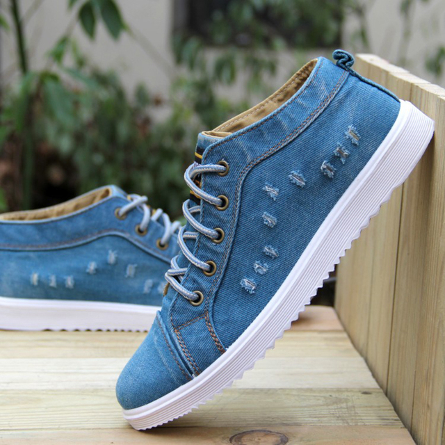 British Style Fashion Vintage Denim Jean Canvas Shoes Men High-top Casual Man Ankle Boots Flat Shoes Usual School Boy Footwear 4