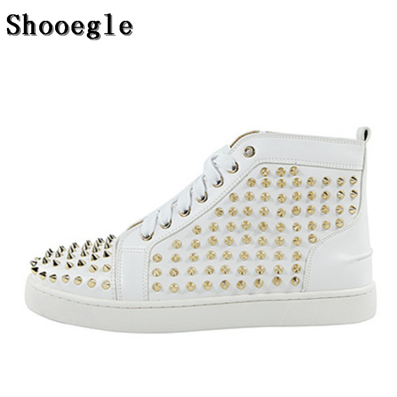 SHOOEGLE Fashion White Rivet Men Sneakers Casual Espadrilles High-top Platform Ankle Boots High Quality Zapatillas Hombre Shoes new spring men shoes trainers leather fashion casual high top walking lace up ankle boots for men red zapatillas hombre