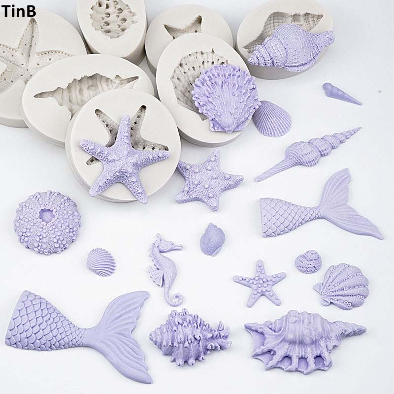 3D Mermaid Tail  Silicone Molds Shell Starfish Soap Mold Cake Decoration Tools Sugar Craft Candle Moulds DIY Craft Fondant Molds