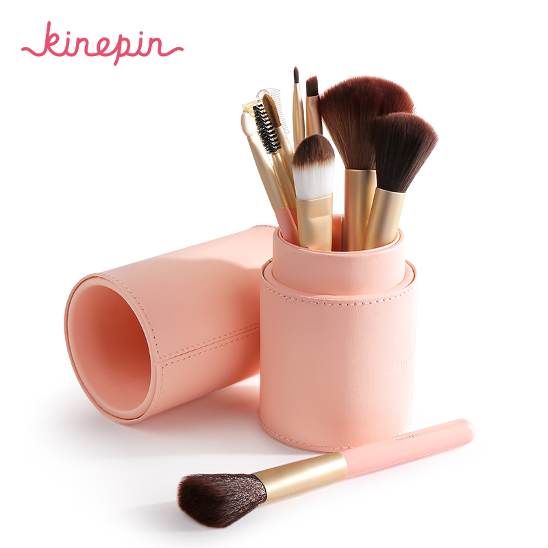цена на KINEPIN Professional Studio 10pcs Makeup Brush Set High Quality Make Up Cosmetics Brushes Kit Portable PU Leather Holder Tube