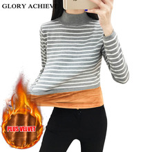 Turtleneck Velvet Thicking Pull femme 2018 Winter Striped Knit Sweater Warm Women pullover sweaters