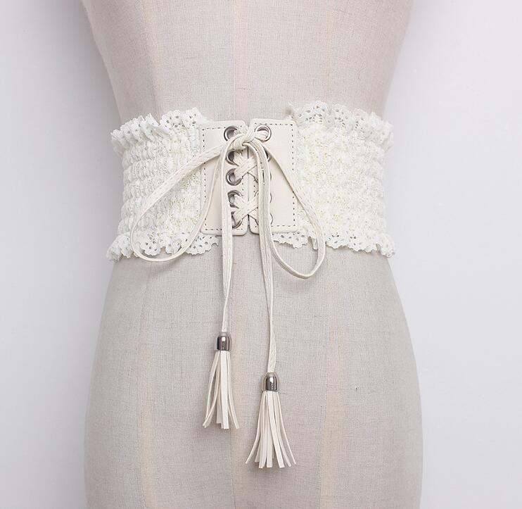 Women's Runway Fashion Elastic Lace Bandage Cummerbunds Female Dress Corsets Waistband Belts Decoration Wide Belt R1626