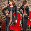 Women Sexy NightClub Dress Black Skinny Sheatch Mesh Patchwork Night Party Dress Ankle-Length O-Neck Nightdress