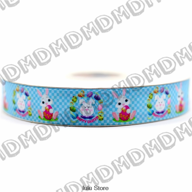 "7/8"" Happy Easter Ribbon Cartoon Rabbits Printed Grosgrain Ribbon DIY Handmade Gift Wrap All Sides 50 Yards MD1501230-22-3176"