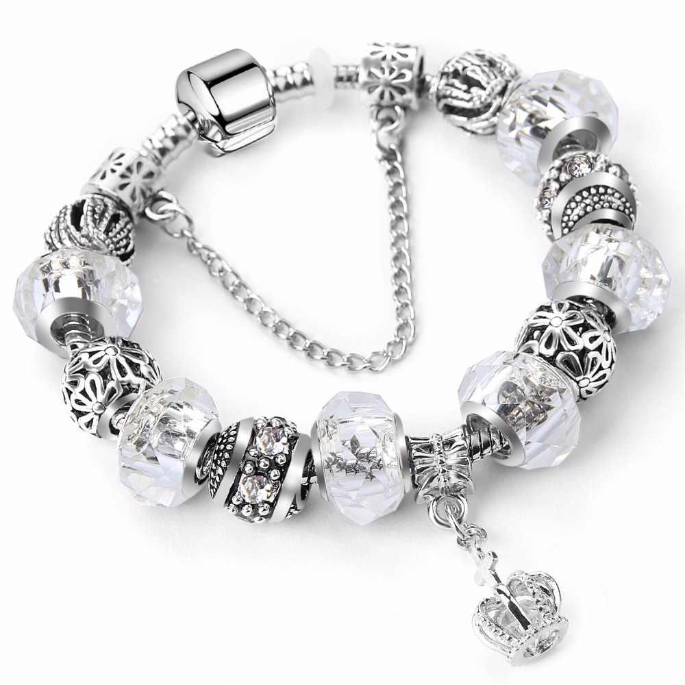 2018 nueva Rosa antiguo encantos de diamantes de imitación pulsera hecha a  mano de Pandora pulseras y brazaletes para mujeres