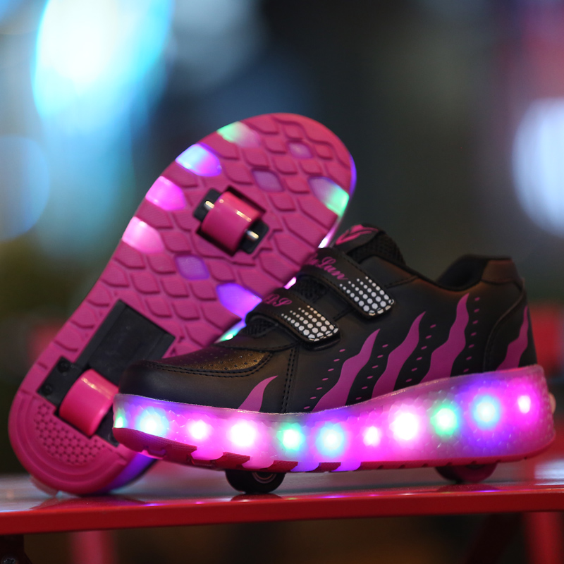 New 2017 Junior Girls Boys LED Light Sneaker, Child Jazzy Roller Skate Shoes With Wheels, Kids Sneakers children roller sneaker with one wheel led lighted flashing roller skates kids boy girl shoes zapatillas con ruedas