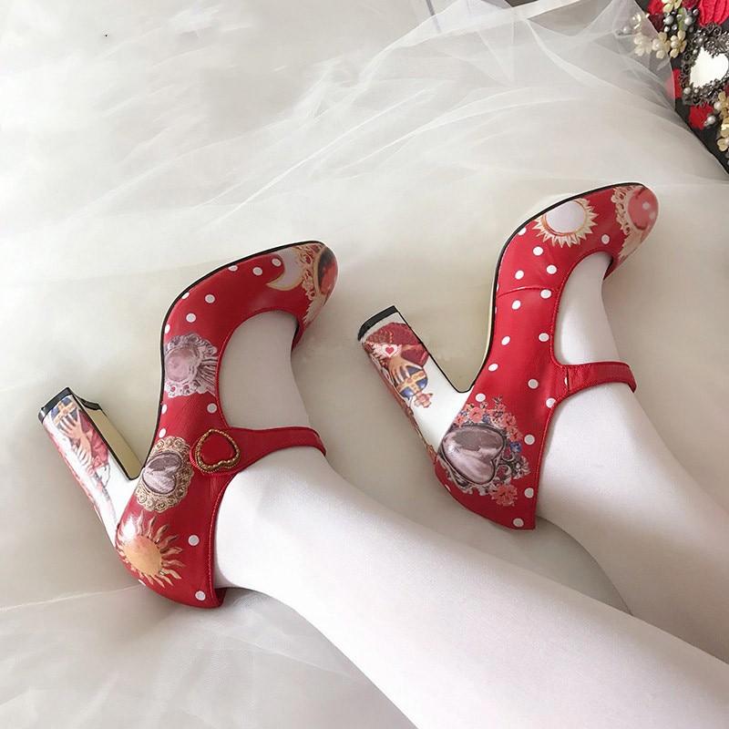 2019 10 6 Black Femme black Fleur Cm Chaussures De Pompes Soirée Peinture red Cm Talon En Décor Mariage Haut Cm Luchfive Sweety Métal Spring Femmes Épais ZqHSpUSTwx