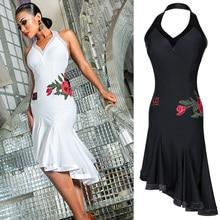 2331f7156 Blanco baile latino vestido rosa vestido de Tango de Cha-Cha Salsa  rendimiento ropa Samba