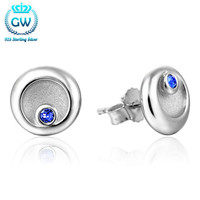 Sterling Silver Jewelry Round Earrings Stud Pave Australian Crystal Brand Gw Fine Jewelry For Women Lovers