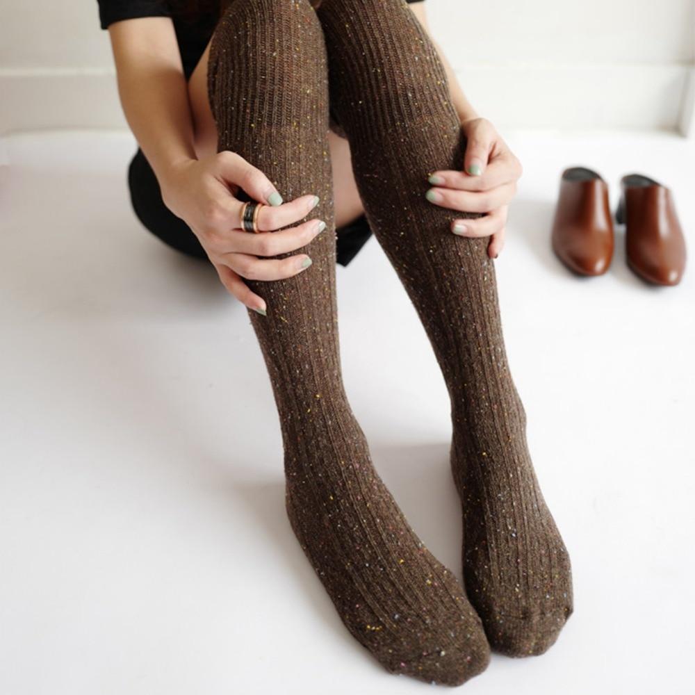 db3aa59a47e 6 couleurs femmes chaussettes Sexy chaud cuisse haute au-dessus du genou chaussettes  Long coton