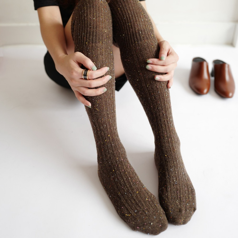 6 цветов, женские носки, сексуальные теплые чулки выше колена, зимние длинные хлопковые толстые чулки для девушек и женщин