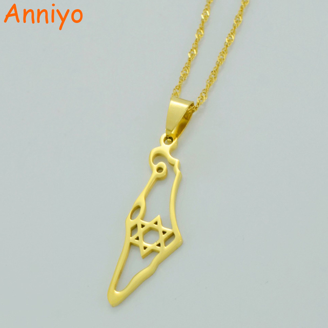 Anniyo Israel Map Pendant Necklace Gold Color Jewish Jewelry Map of