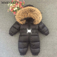 New 2017 Russia winter sets duck down jackets coats real Leopard fur collar for girls boys warm jumpsuit kids ski suit 30degree