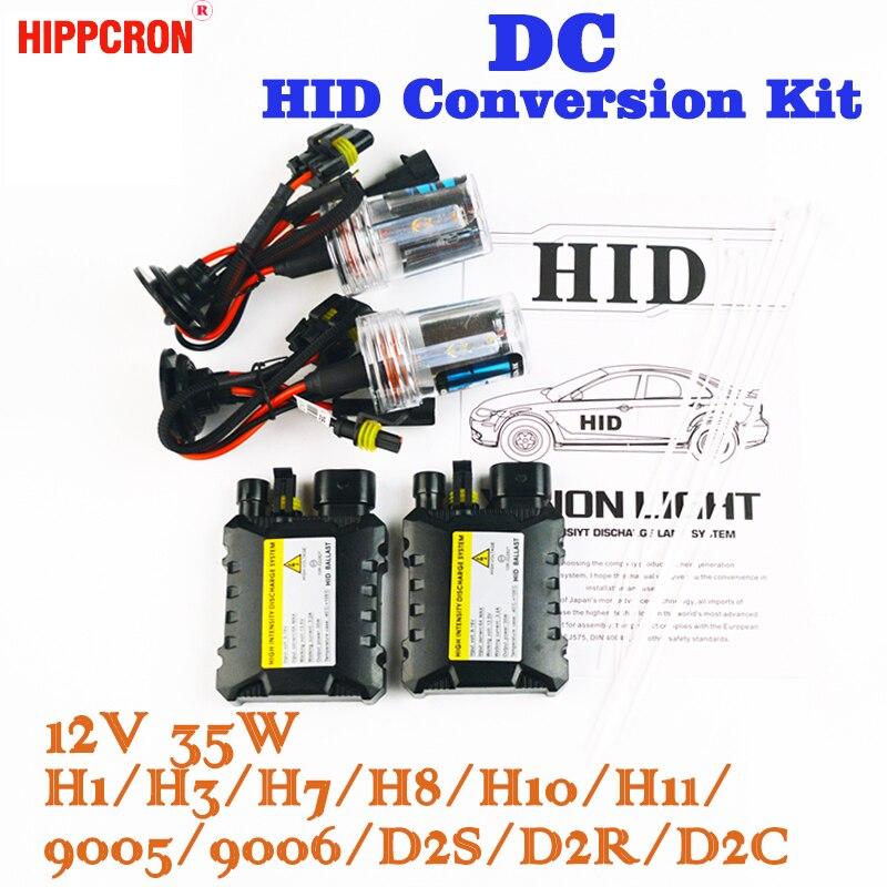 Hippcron XENON DC HID Conversion Kit 12 v 35 w H1 H3 H7 H8 H10 H11 9005 D2S D2R D2C mince Ballast Voiture Ampoule 4300 k 6000 k 8000 k 30000 k