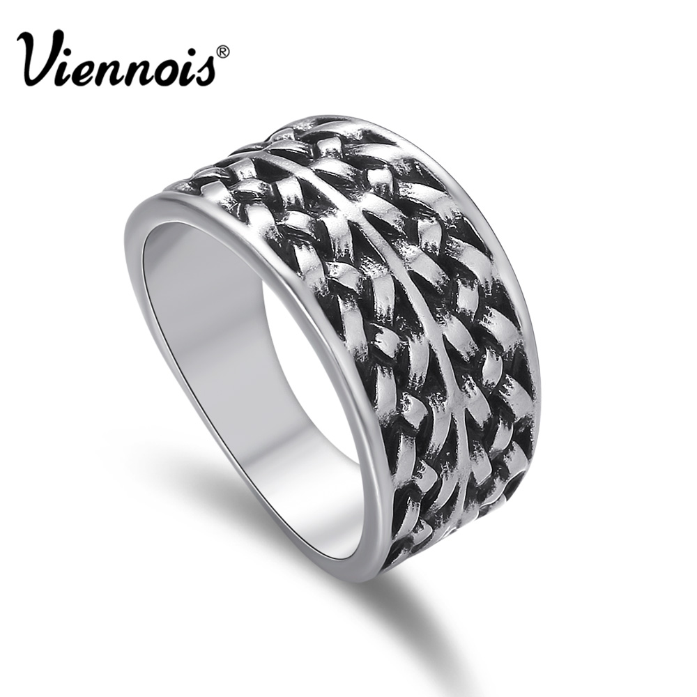 Viennois new vintage silver color twisted pattern size Vintage style fashion rings