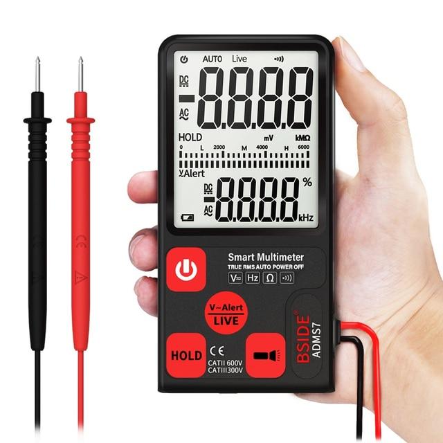 مقياس رقمي متعدد محمول فائق BSIDE ADMS7 شاشة LCD مقاس 3.5 بوصات قياس 3 خطوط الفولتميتر مع الجهد NCV المقاومة أوم هرتز فاحص