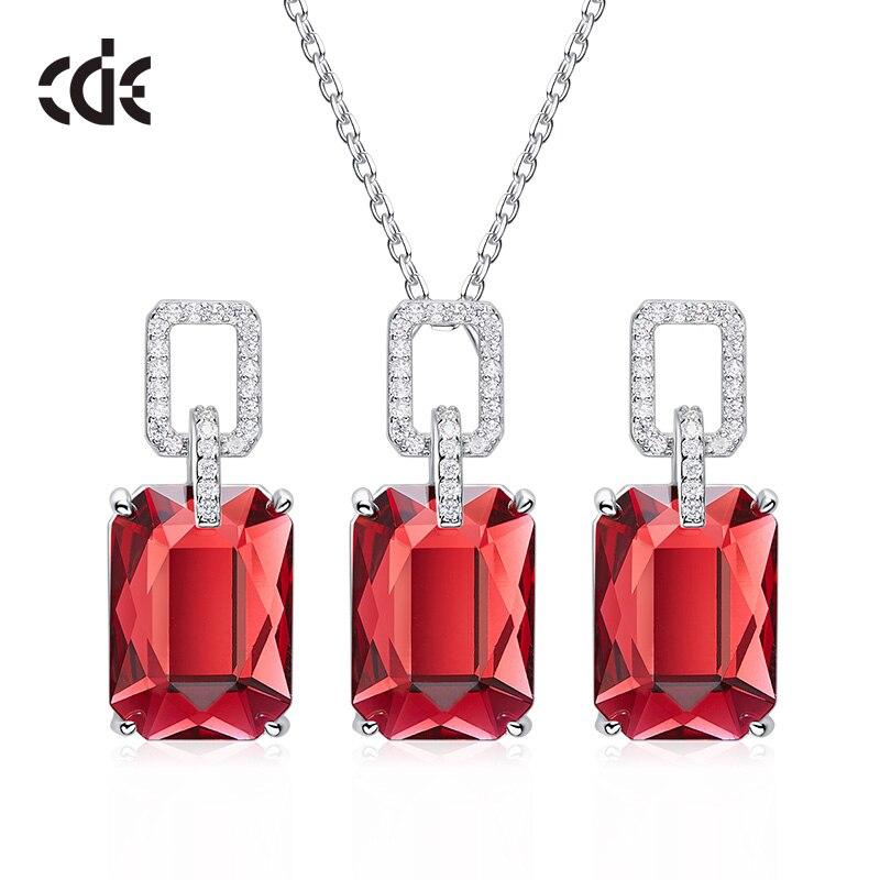 Ensemble de bijoux en argent Sterling CDE 925 pour femmes orné de cristaux de Swarovski ensemble de bijoux fins de luxe cadeau de fête des mères