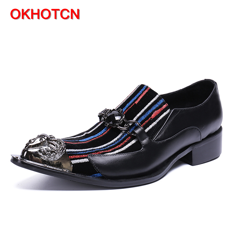 OKHOTCN Hot sale fashion genuine leather man shoes color stripe metal pointed toe decor gentleman business wedding party shoesOKHOTCN Hot sale fashion genuine leather man shoes color stripe metal pointed toe decor gentleman business wedding party shoes