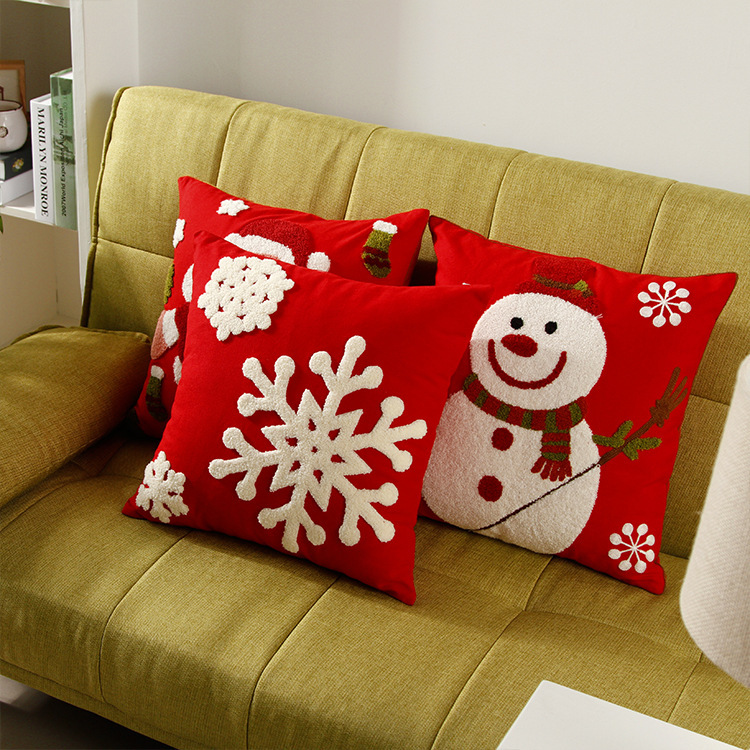 Embroidered Santa Claus Snowman Snowflakes Cushion Covers