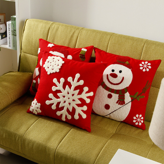 Embroidered Santa Claus Snowman Snowflakes Cushion Covers Merry Christmas Embroidery Pillow Cover Sofa Seat Cotton