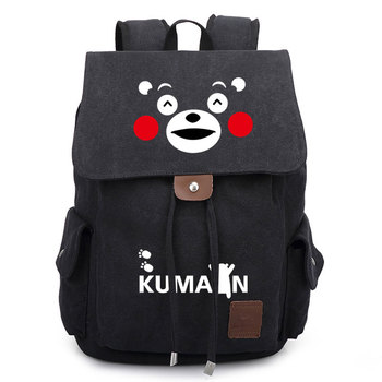 Big Travel Bags | Anime Kumamoto Kumamon Canvas Backpack Drawstring Casual Travel School Shoulder Bag Big Capacity Student Cosplay Laptop Rucksack