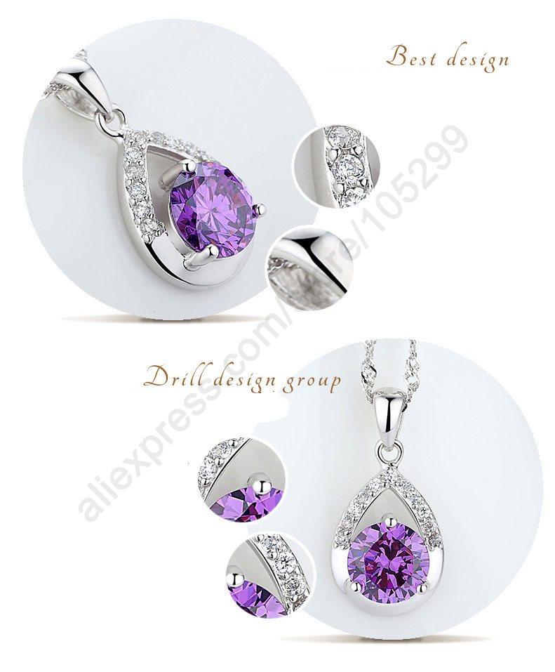 Designer Amethyst Glass DROP Pendant in 925 Sterling Silver