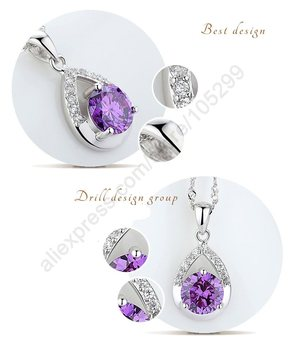 925 Sterling Silver Bridal Jewelry Set Necklace Romantic Style Water Drop Shape  Austrian Crystal 1