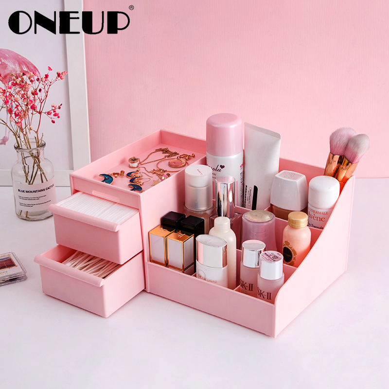 ONEUP Cosmetic Storage Box Drawer Desktop Plastic Makeup Dressing Table Skin Care Rack Jewelry Case Drawer Sundries Container