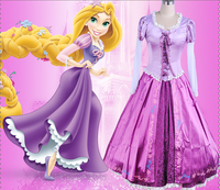 Special Offer High quality Adult Rapunzel Fancy Dress Anime Cosplay Costume Princess Fairytale Tangled