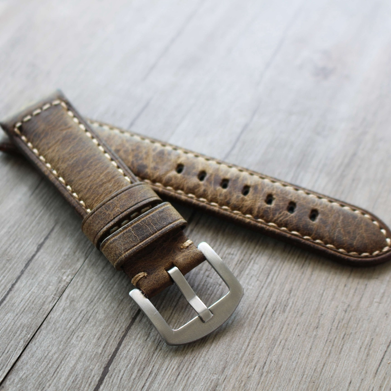 New Luxury Watch strap 20 22 24 26mm Man Women Handmade Leather Brown Wrist Watch Band Strap Belt Silver Buckle for Panerai PAM(China)