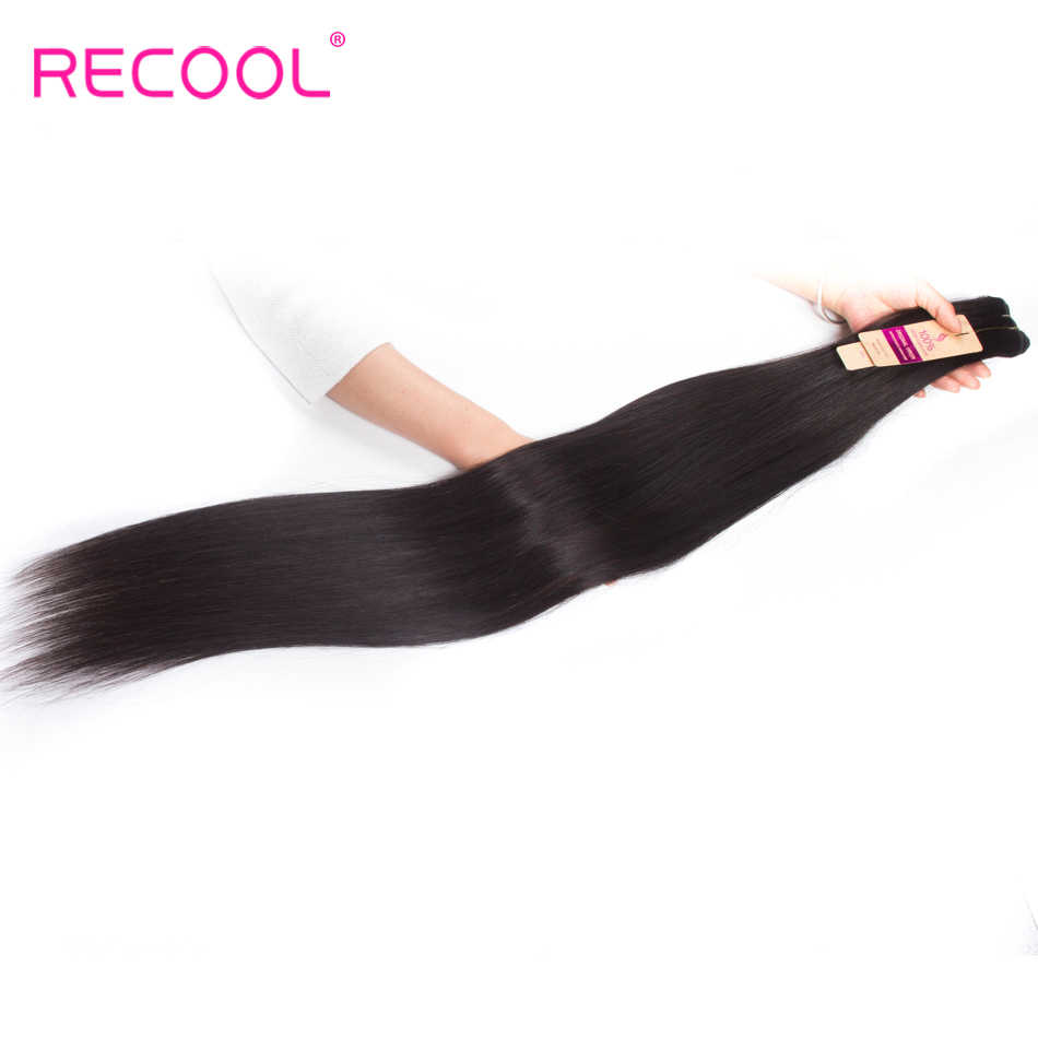 Recool Straight Hair Bundles 10- 30 32 34 36 38 40 Inch Brazilian Hair Weave Remy Cuticle Aligned Human Hair Extension Bundles