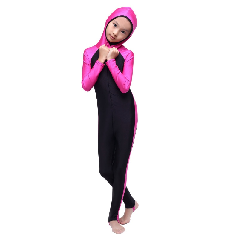 Muslim Girls Full Cover Modest Swimsuit Islamic Beachwear Swimming