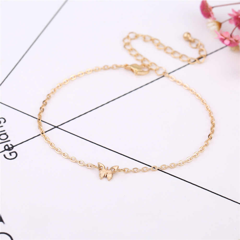 Bohemian Rose Gold Color Butterfly Anklet Bracelet Fashion Foot Jewelry Accessories  Women Accessories