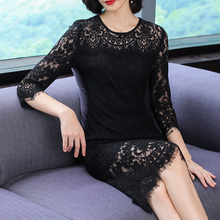 Lace Hollow Out Dress Midi Runway Sexy Party Night Dresses 2019 Summer Elegant Plus Size Big Bodycon Slim Tunic Black Clothing sexy black hollow lace bodycon party midi dress