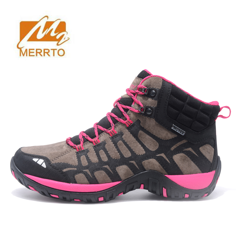 MERRTO Women's Outdoor Winter Hiking Boots Shoes Sneakers For Women Leather Trekking Climbing Mountain Boots Shoes Sneaker Woman yin qi shi man winter outdoor shoes hiking camping trip high top hiking boots cow leather durable female plush warm outdoor boot