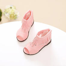2017 summer new fashion tassel girl sandals Korean Princess Hollow shoes baby Net yarn fish mouth children cool boots for baby