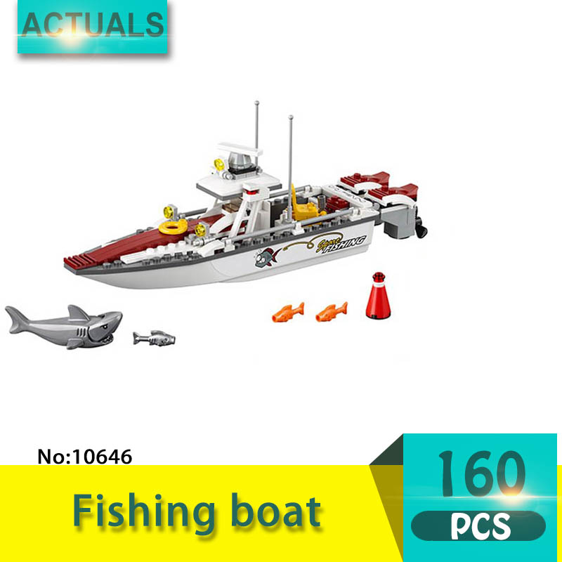 bela 10646 160Pcs City series Fishing boat Model Building Blocks Set  Bricks Toys For Children  Gift 60147 10646 160pcs city figures fishing boat model building kits blocks diy bricks toys for children gift compatible 60147