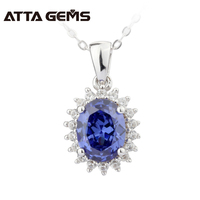 Tanzanite Silver Pendant 3 Carats Oval 7mm 9mm For Office Ladies Exquisite CraftsmanshipTop Quality And Good
