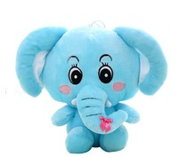 lovely plush elephant toy blue elephant doll  long nose elephant doll gift doll about 40cm