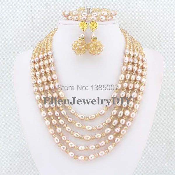 New Arrival 5 Rows Freshwater Pearl Jewelry Set Pearl Necklace Wedding Gift Crystal Necklace Wedding Gift Bridesmaid NecklaceNew Arrival 5 Rows Freshwater Pearl Jewelry Set Pearl Necklace Wedding Gift Crystal Necklace Wedding Gift Bridesmaid Necklace