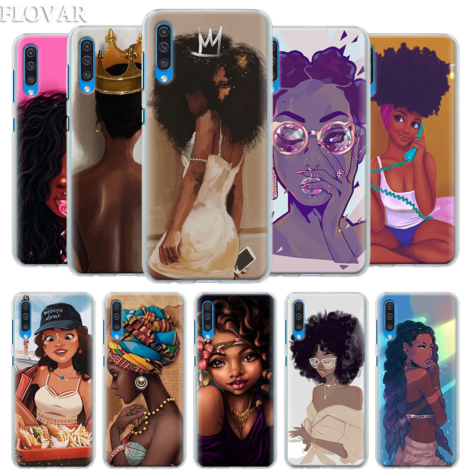 Beautiful Afro Girls Case Cover For Samsung Galaxy A30 A40 A50 A70 A6 A8 Plus A7 A9 2018 M30 Phone Case Coque