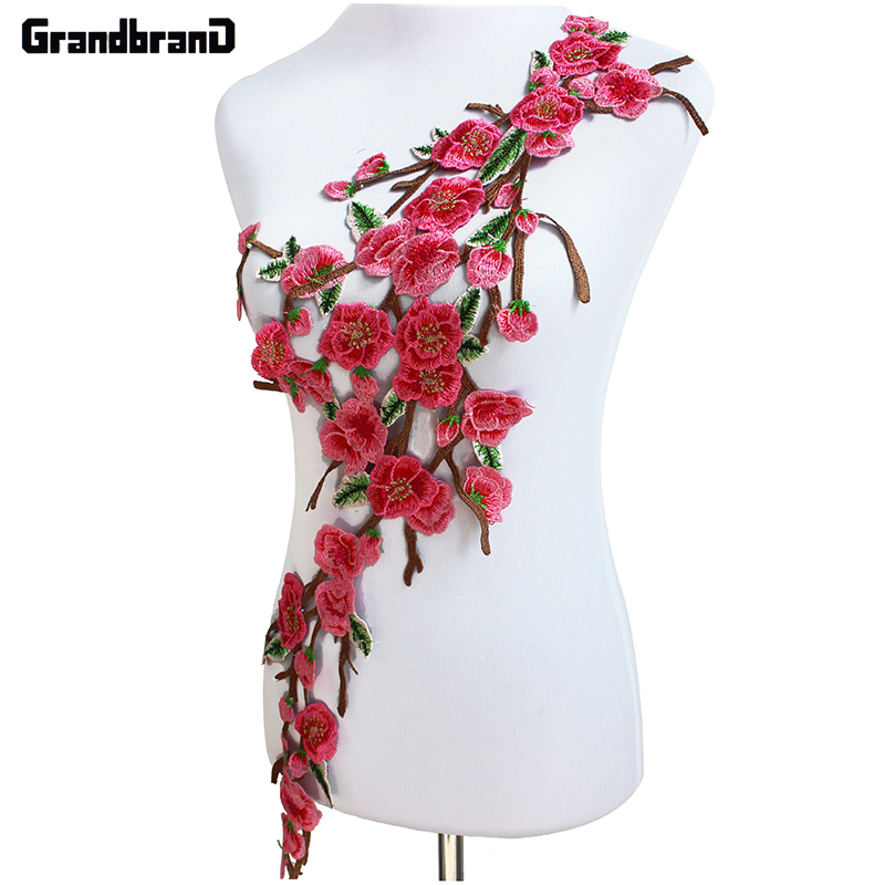 Floral pink embroidered lace pacthes motif venice venise