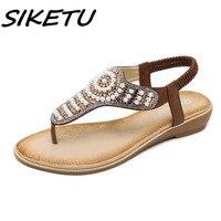 SIKETU Women Sandals Summer 2018 Gladiator Shoes Woman Bohemian Women Flat Back Strap Sandals Crystal Flat