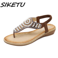 SIKETU Women Sandals Summer 2018 Gladiator Shoes Woman Bohemian Women Flat Back Strap Sandals Crystal Flat