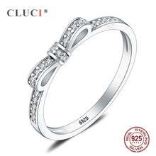 CLUCI Real 925 Sterling Silver Sparkling Bow Knot Rings Zircon Ring for Women Valentines Day Gift Jewelry