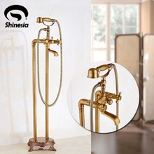 Floor Mount Bathroom Claw-foot Bath Tub Faucet Free Standing Brass Antique Bathtub Mixer Taps