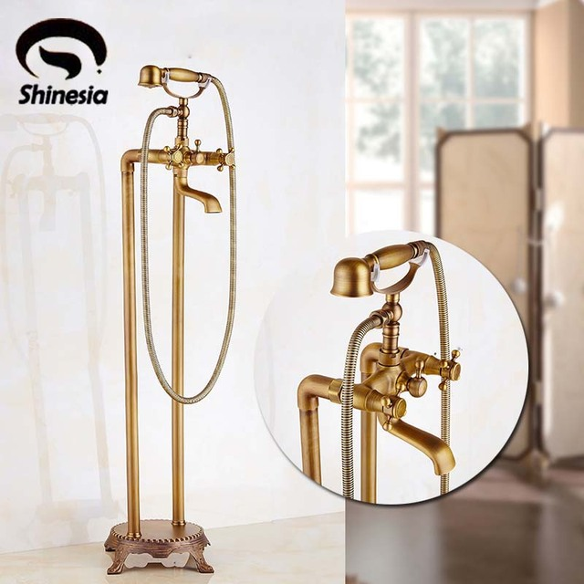 Floor Mount Bathroom Claw Foot Bath Tub Faucet Free Standing Brass Antique  Bathtub Mixer Taps