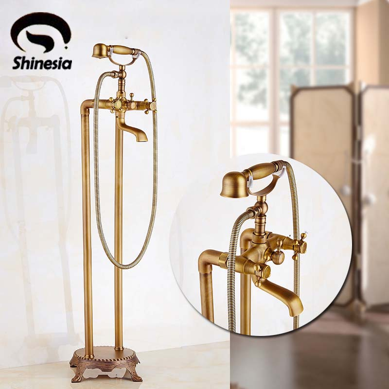 Floor Mount Bathroom Claw-foot Bath Tub Faucet Free Standing Brass Antique Bathtub Mixer Taps ...